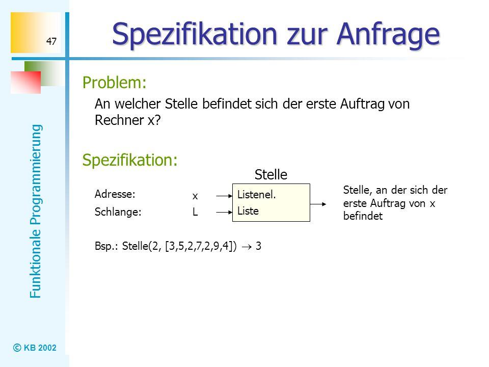 © KB 2002 Funktionale Programmierung 47 Spezifikation zur Anfrage An welcher Stelle befindet sich der erste Auftrag von Rechner x? Problem: Listenel.