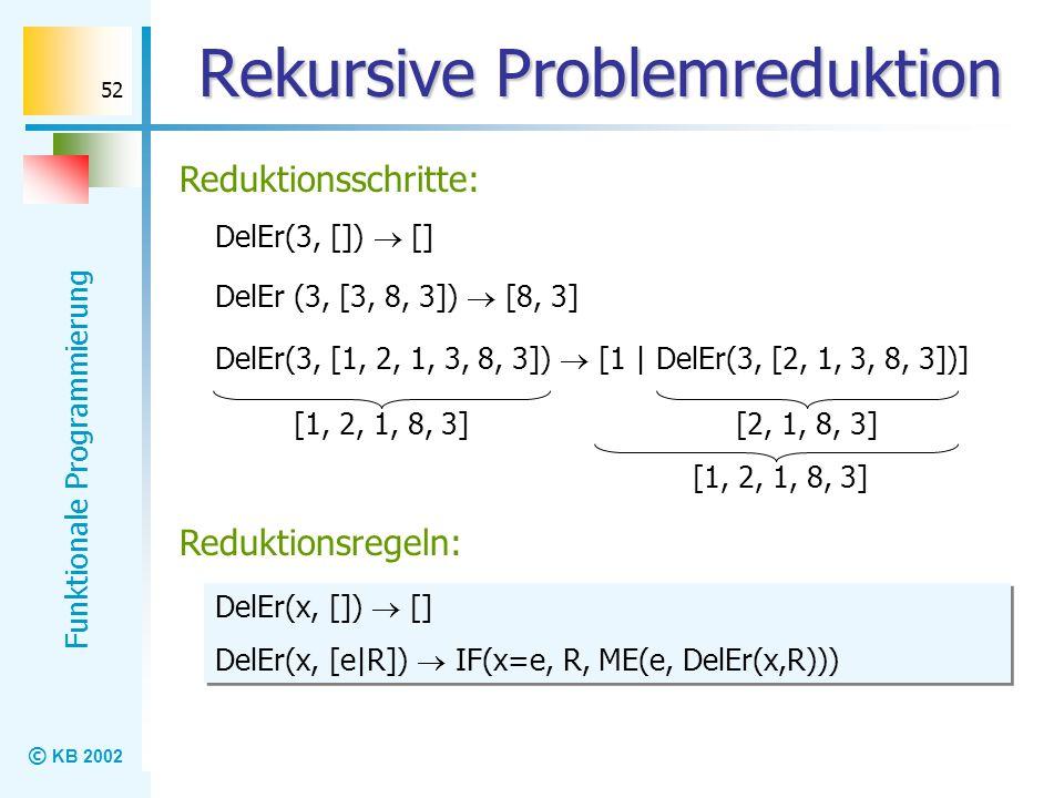 © KB 2002 Funktionale Programmierung 52 Rekursive Problemreduktion Reduktionsschritte: DelEr(3, []) [] DelEr(3, [1, 2, 1, 3, 8, 3]) [1 | DelEr(3, [2,