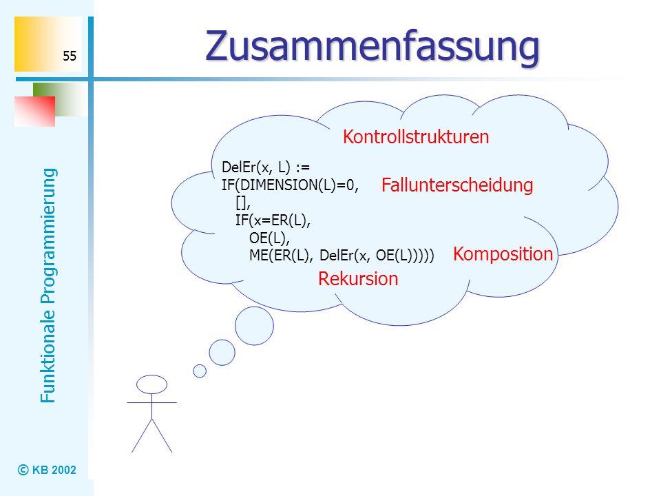 © KB 2002 Funktionale Programmierung 55 Zusammenfassung Kontrollstrukturen DelEr(x, L) := IF(DIMENSION(L)=0, [], IF(x=ER(L), OE(L), ME(ER(L), DelEr(x,
