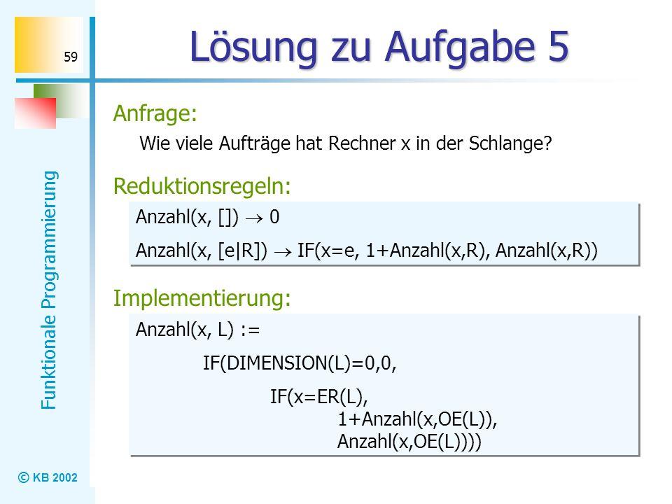 © KB 2002 Funktionale Programmierung 59 Lösung zu Aufgabe 5 Wie viele Aufträge hat Rechner x in der Schlange? Reduktionsregeln: Anzahl(x, []) 0 Anzahl