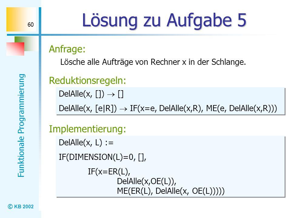 © KB 2002 Funktionale Programmierung 60 Lösung zu Aufgabe 5 Lösche alle Aufträge von Rechner x in der Schlange. Reduktionsregeln: Implementierung: Anf