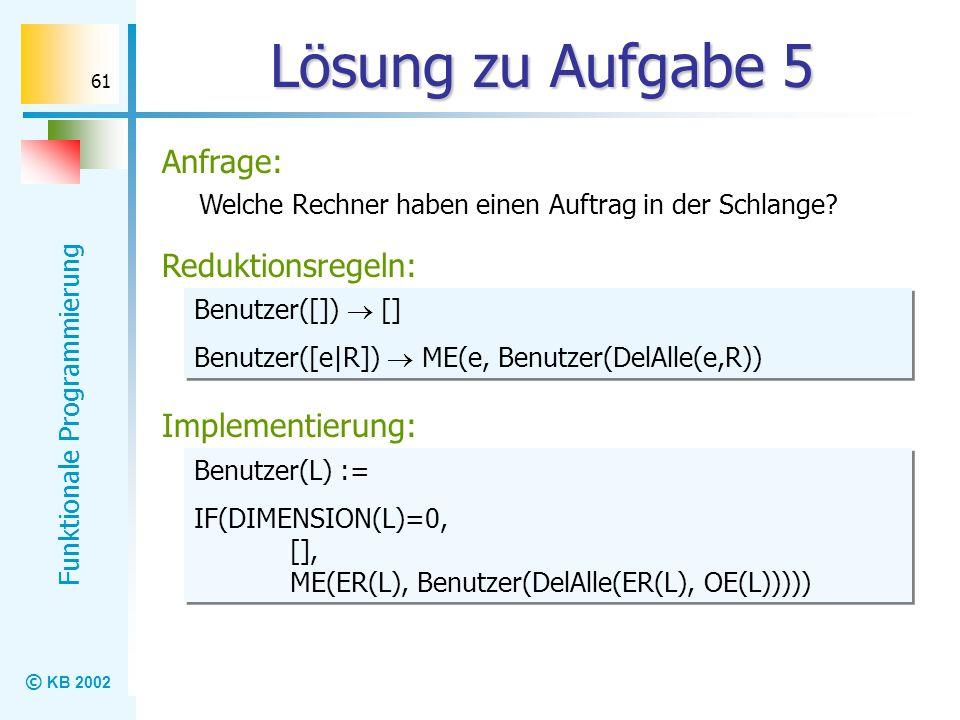 © KB 2002 Funktionale Programmierung 61 Lösung zu Aufgabe 5 Welche Rechner haben einen Auftrag in der Schlange? Reduktionsregeln: Implementierung: Anf