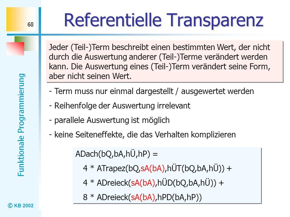 © KB 2002 Funktionale Programmierung 68 Referentielle Transparenz Jeder (Teil-)Term beschreibt einen bestimmten Wert, der nicht durch die Auswertung a