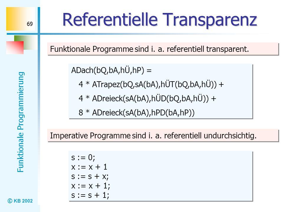 © KB 2002 Funktionale Programmierung 69 Referentielle Transparenz Funktionale Programme sind i. a. referentiell transparent. ADach(bQ,bA,hÜ,hP) = 4 *