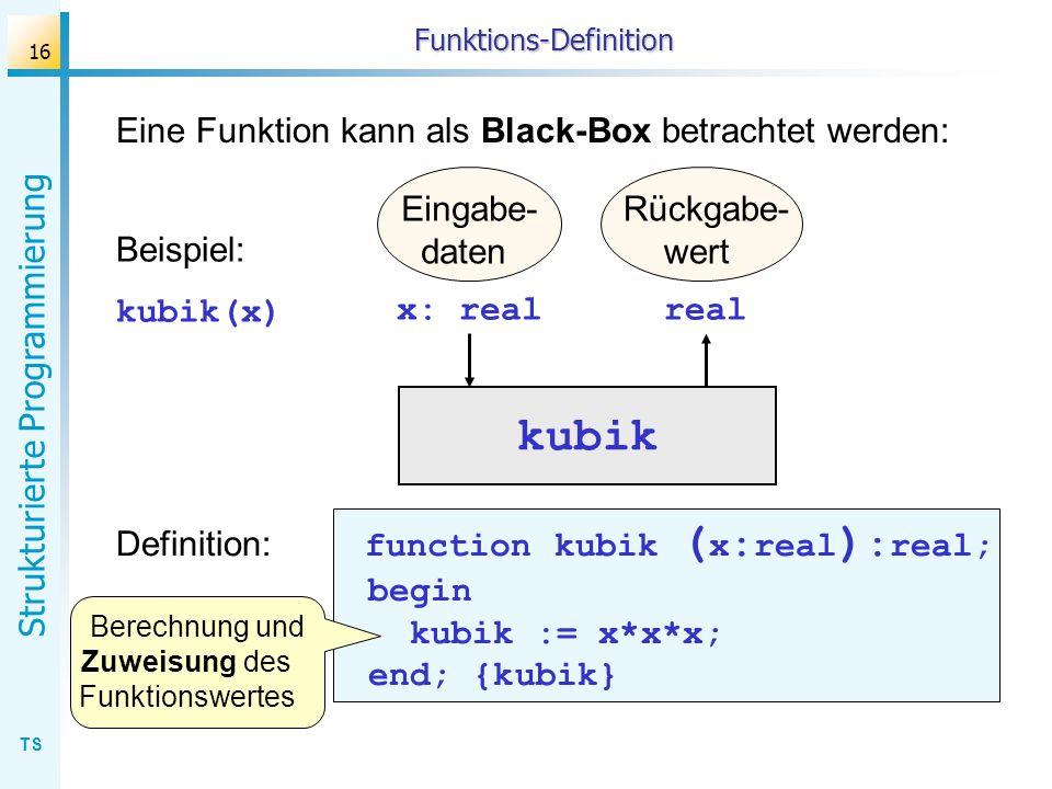 TS Strukturierte Programmierung 16 Funktions-Definition Eine Funktion kann als Black-Box betrachtet werden: kubik Eingabe- daten Rückgabe- wert x: rea