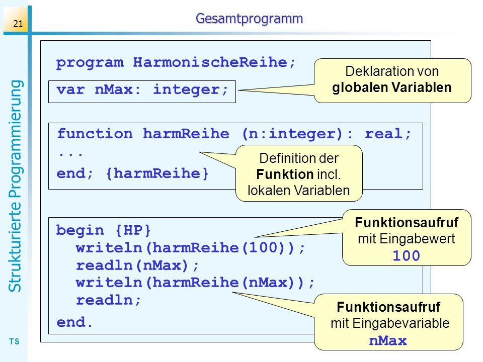 TS Strukturierte Programmierung 21 Gesamtprogramm program HarmonischeReihe; var nMax: integer; function harmReihe (n:integer): real;... end; {harmReih