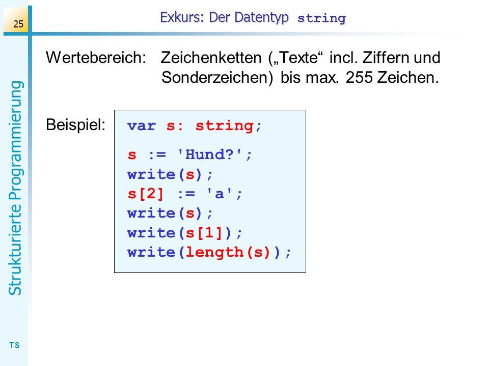 TS Strukturierte Programmierung 25 Wertebereich: Zeichenketten (Texte incl. Ziffern und Sonderzeichen) bis max. 255 Zeichen. Beispiel: var s: string;
