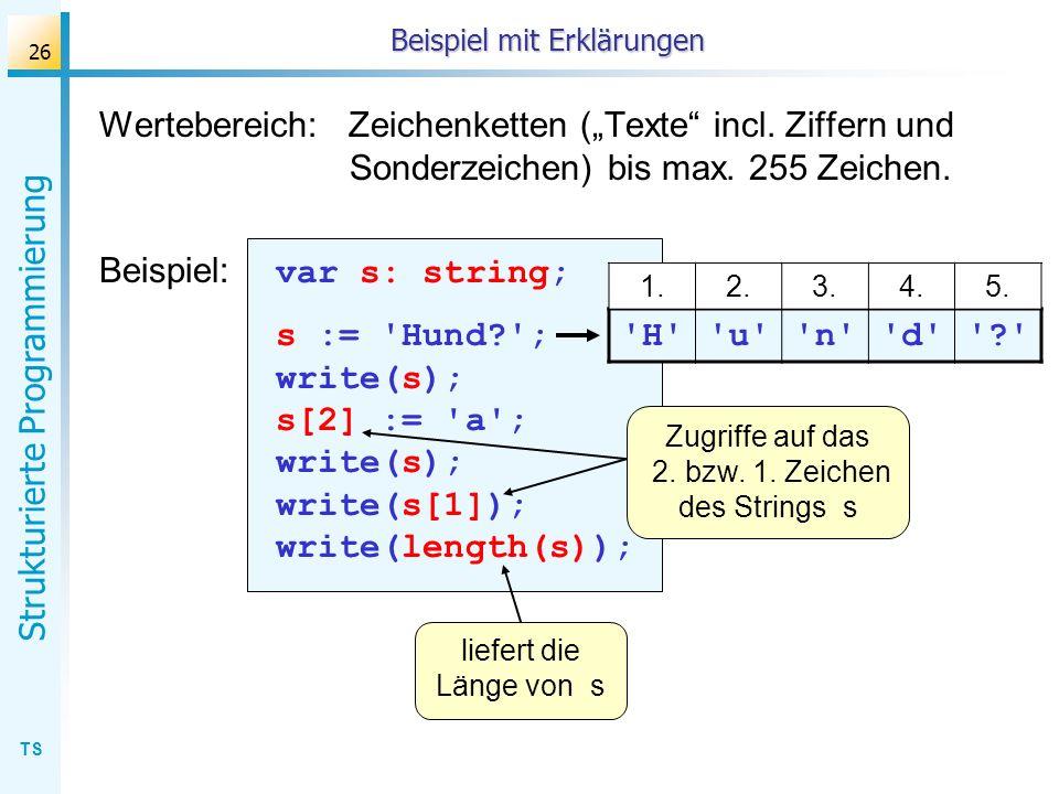 TS Strukturierte Programmierung 26 Beispiel mit Erklärungen Wertebereich: Zeichenketten (Texte incl. Ziffern und Sonderzeichen) bis max. 255 Zeichen.