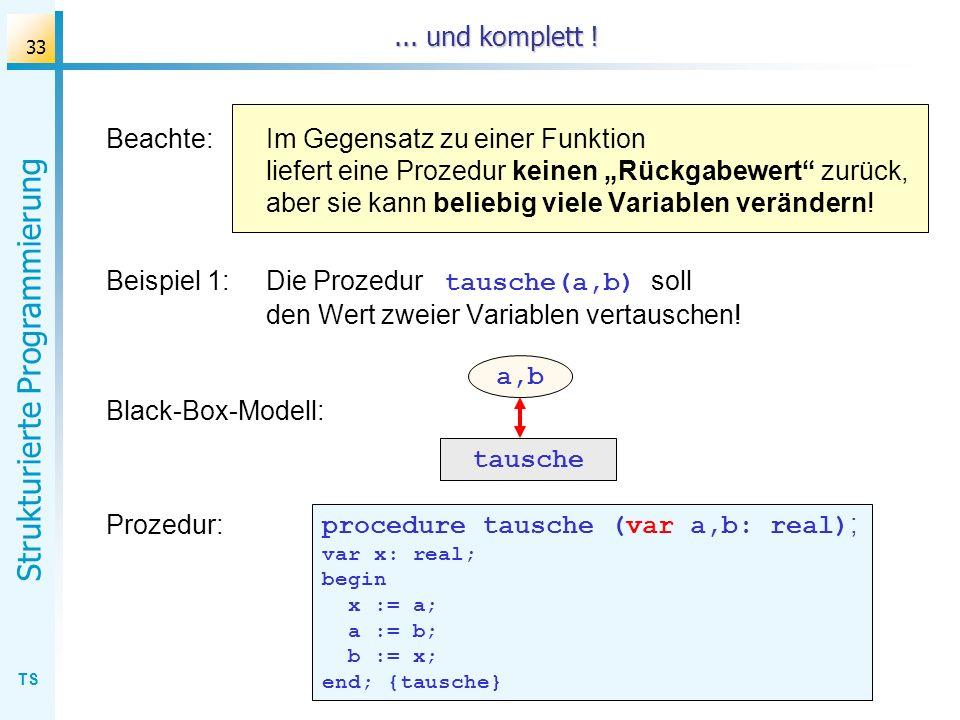 TS Strukturierte Programmierung 33... und komplett ! Beachte:Im Gegensatz zu einer Funktion liefert eine Prozedur keinen Rückgabewert zurück, aber sie