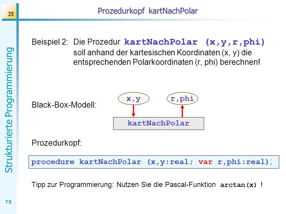 TS Strukturierte Programmierung 35 Prozedurkopf kartNachPolar Beispiel 2:Die Prozedur kartNachPolar (x,y,r,phi) soll anhand der kartesischen Koordinat