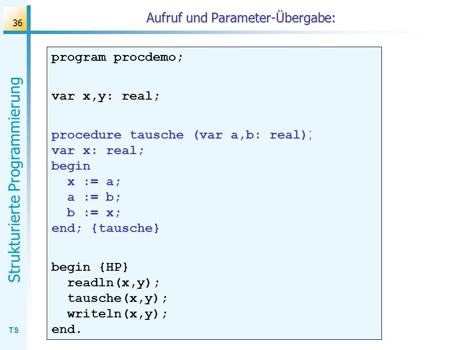 TS Strukturierte Programmierung 36 Aufruf und Parameter-Übergabe: program procdemo; var x,y: real; procedure tausche (var a,b: real) ; var x: real; be