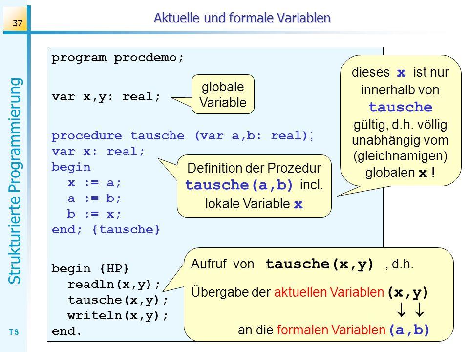 TS Strukturierte Programmierung 37 Aktuelle und formale Variablen program procdemo; var x,y: real; procedure tausche (var a,b: real) ; var x: real; be