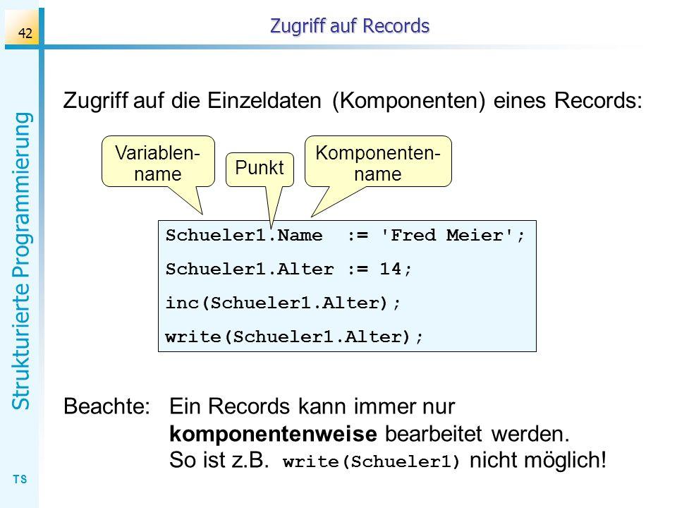 TS Strukturierte Programmierung 42 Zugriff auf Records Zugriff auf die Einzeldaten (Komponenten) eines Records: Schueler1.Name := 'Fred Meier'; Schuel
