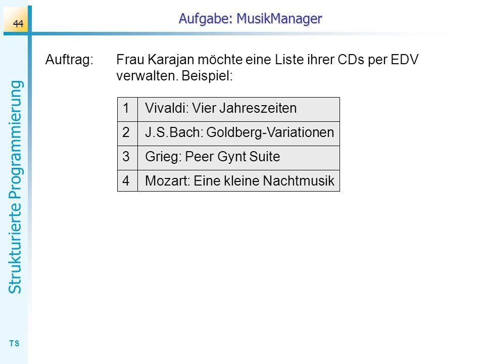 TS Strukturierte Programmierung 44 Auftrag:Frau Karajan möchte eine Liste ihrer CDs per EDV verwalten. Beispiel: Aufgabe: MusikManager 1 Vivaldi: Vier