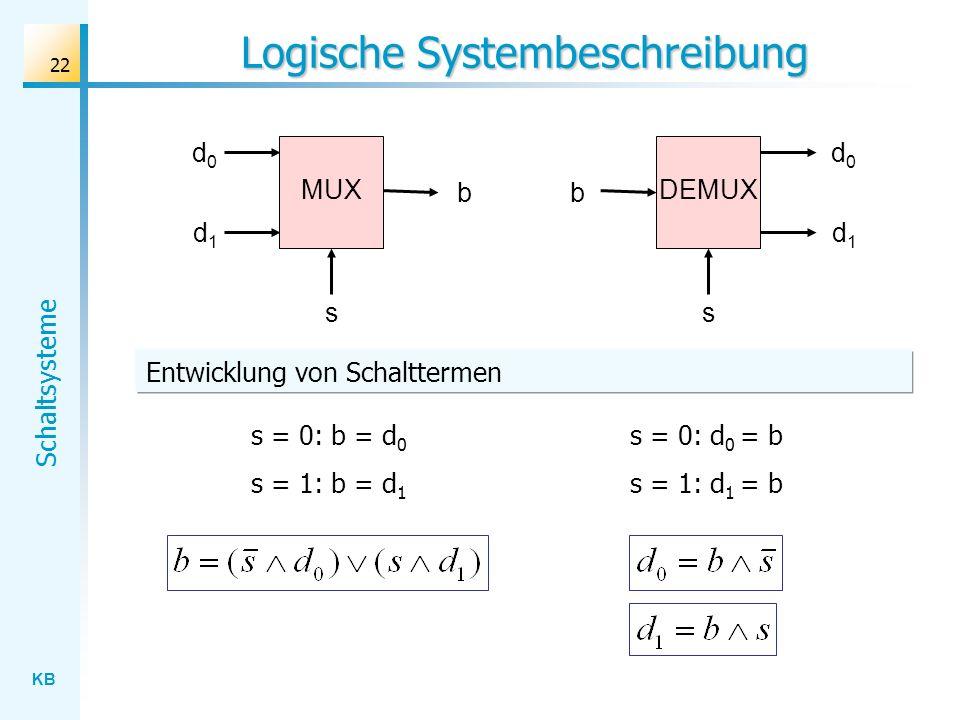 KB Schaltsysteme 22 Logische Systembeschreibung s DEMUX d0d0 d1d1 b s MUX d0d0 d1d1 b s = 0: b = d 0 s = 1: b = d 1 s = 0: d 0 = b s = 1: d 1 = b Entwicklung von Schalttermen