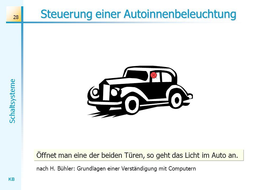 KB Schaltsysteme 28 Steuerung einer Autoinnenbeleuchtung Öffnet man eine der beiden Türen, so geht das Licht im Auto an. nach H. Bühler: Grundlagen ei