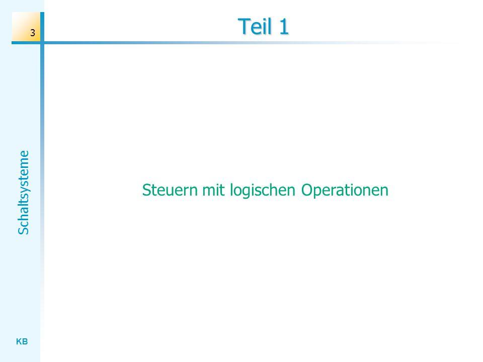 KB Schaltsysteme 24 Idee: Funktionale Modellierung s MUX d0d0 d1d1 b 1 d0d0 d1d1 s & & Realisierung des Systems mit Hilfe eines Logik-basierten Schaltnetzes Beschreibung des Systemverhaltens mit einer logischen Schaltfunktion
