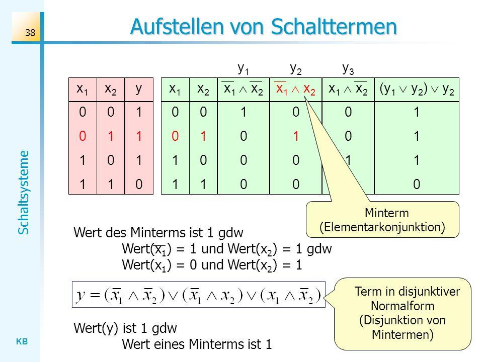 KB Schaltsysteme 38 Aufstellen von Schalttermen Wert des Minterms ist 1 gdw Wert(x 1 ) = 1 und Wert(x 2 ) = 1 gdw Wert(x 1 ) = 0 und Wert(x 2 ) = 1 x1