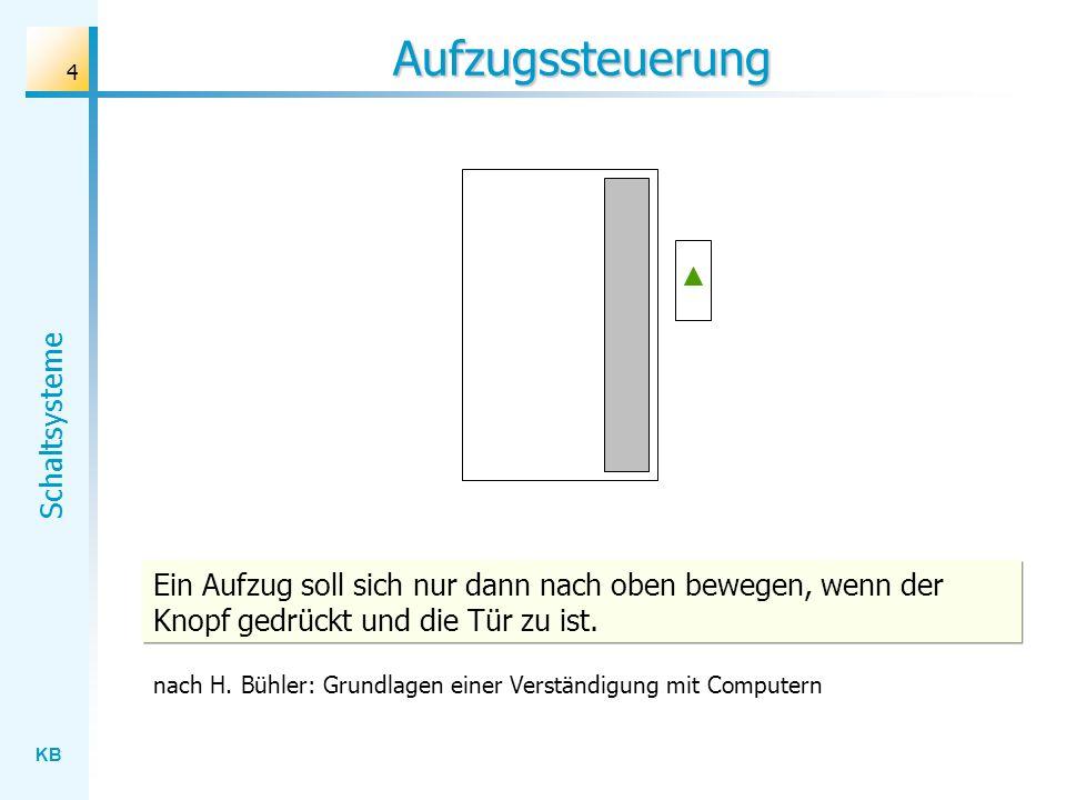 KB Schaltsysteme 4 Aufzugssteuerung Ein Aufzug soll sich nur dann nach oben bewegen, wenn der Knopf gedrückt und die Tür zu ist. nach H. Bühler: Grund