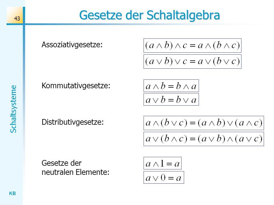 KB Schaltsysteme 43 Gesetze der Schaltalgebra Assoziativgesetze: Kommutativgesetze: Distributivgesetze: Gesetze der neutralen Elemente: