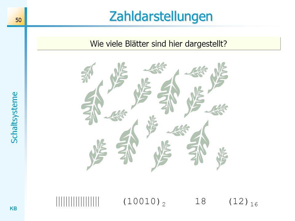 KB Schaltsysteme 50 Zahldarstellungen Wie viele Blätter sind hier dargestellt? (10010) 2 18(12) 16