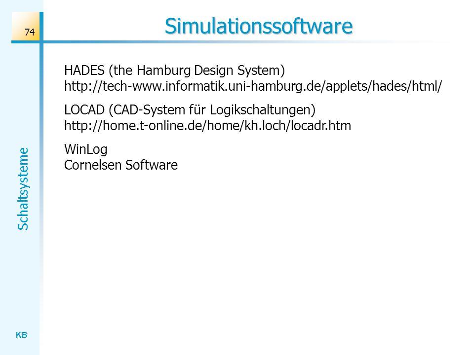 KB Schaltsysteme 74 Simulationssoftware HADES (the Hamburg Design System) http://tech-www.informatik.uni-hamburg.de/applets/hades/html/ LOCAD (CAD-System für Logikschaltungen) http://home.t-online.de/home/kh.loch/locadr.htm WinLog Cornelsen Software