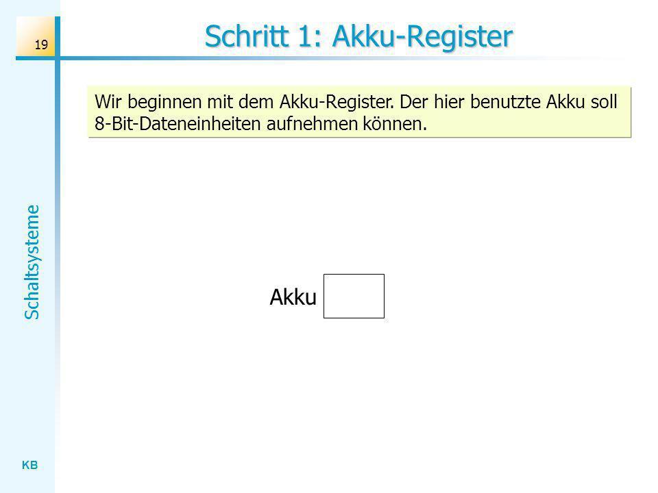 KB Schaltsysteme 19 Schritt 1: Akku-Register Wir beginnen mit dem Akku-Register. Der hier benutzte Akku soll 8-Bit-Dateneinheiten aufnehmen können. Ak