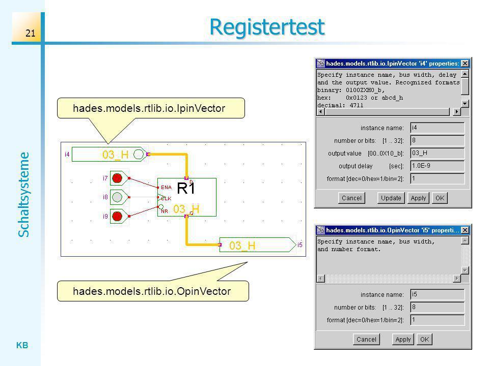 KB Schaltsysteme 21 Registertest hades.models.rtlib.io.OpinVector hades.models.rtlib.io.IpinVector