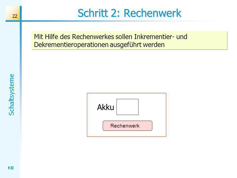 KB Schaltsysteme 22 Schritt 2: Rechenwerk Mit Hilfe des Rechenwerkes sollen Inkrementier- und Dekrementieroperationen ausgeführt werden Rechenwerk Akku