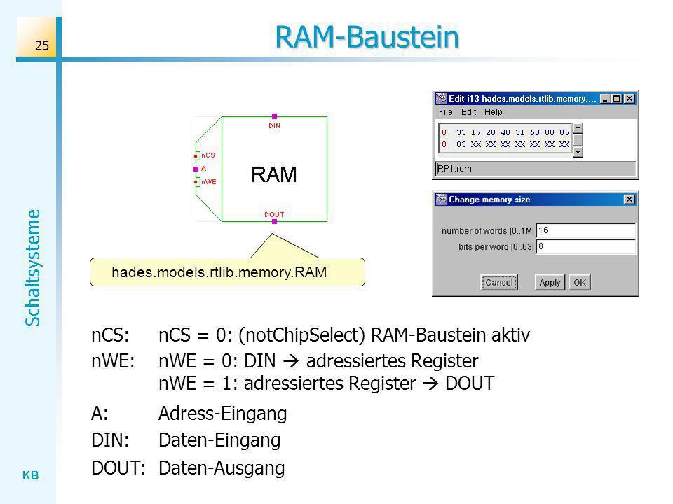 KB Schaltsysteme 25 RAM-Baustein nCS: nCS = 0: (notChipSelect) RAM-Baustein aktiv nWE: nWE = 0: DIN adressiertes Register nWE = 1: adressiertes Register DOUT A: Adress-Eingang DIN: Daten-Eingang DOUT: Daten-Ausgang hades.models.rtlib.memory.RAM