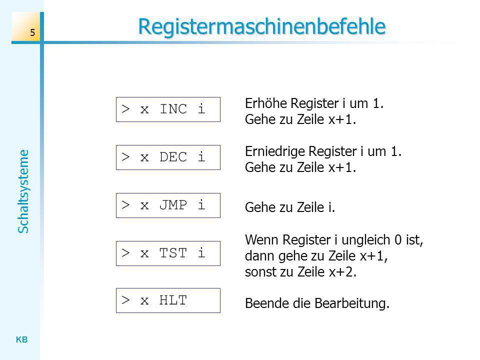 KB Schaltsysteme 5 Registermaschinenbefehle > x INC i Erhöhe Register i um 1. Gehe zu Zeile x+1. > x DEC i Erniedrige Register i um 1. Gehe zu Zeile x