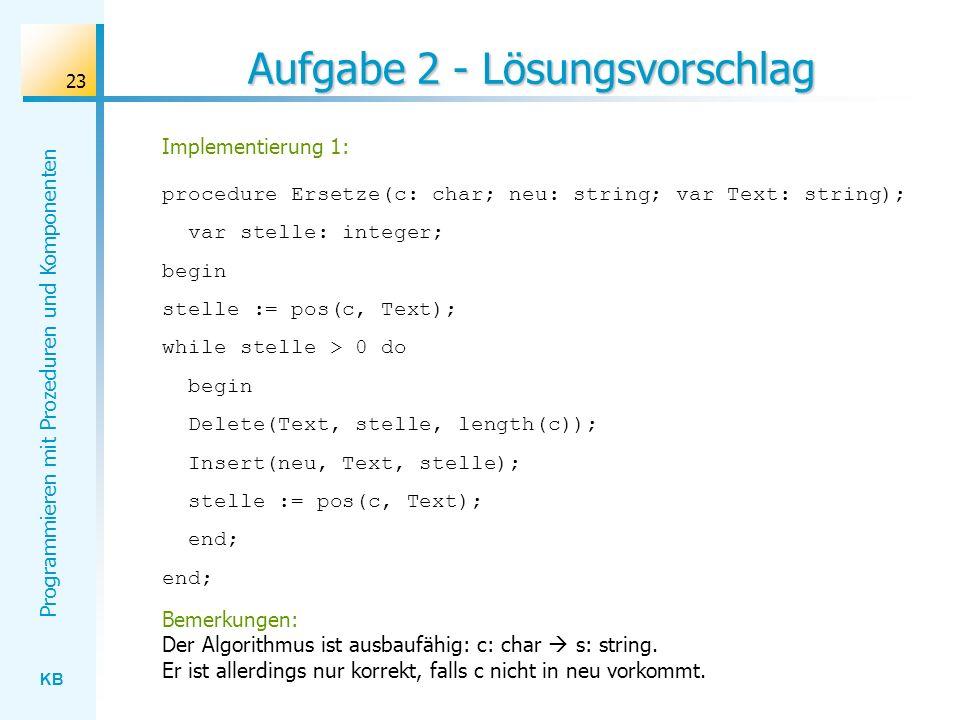KB Programmieren mit Prozeduren und Komponenten 23 Aufgabe 2 - Lösungsvorschlag Implementierung 1: procedure Ersetze(c: char; neu: string; var Text: string); var stelle: integer; begin stelle := pos(c, Text); while stelle > 0 do begin Delete(Text, stelle, length(c)); Insert(neu, Text, stelle); stelle := pos(c, Text); end; Bemerkungen: Der Algorithmus ist ausbaufähig: c: char s: string.