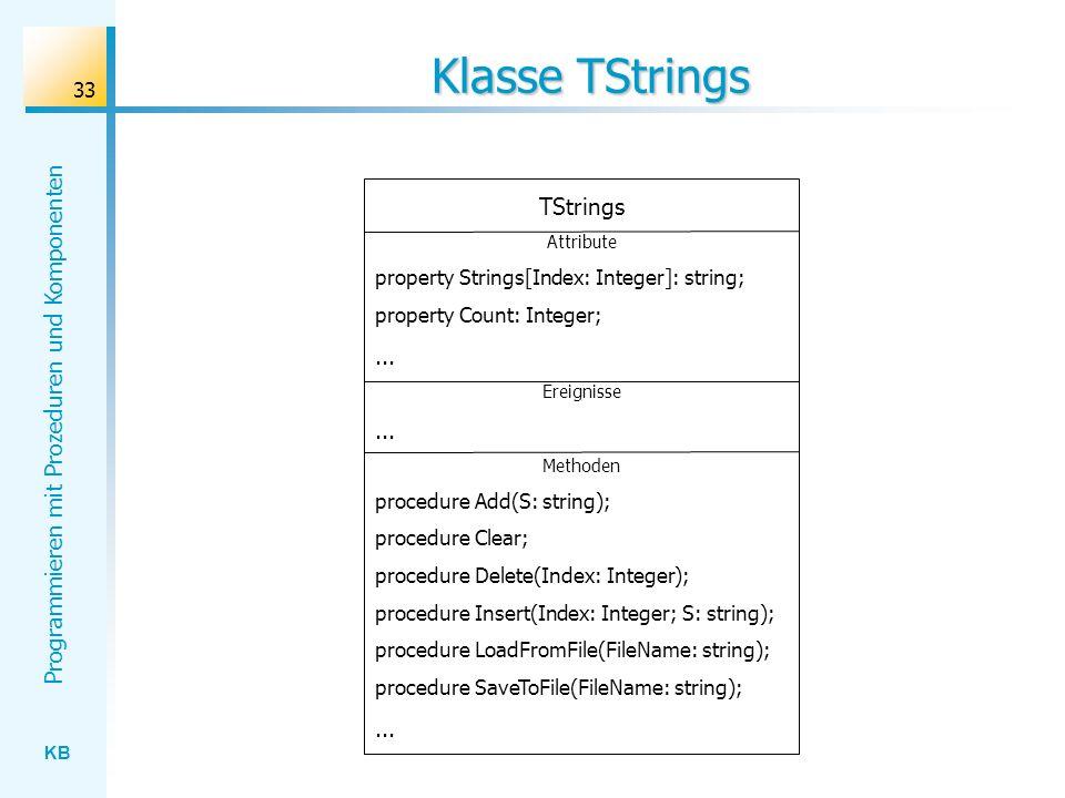 KB Programmieren mit Prozeduren und Komponenten 33 Klasse TStrings TStrings Attribute property Strings[Index: Integer]: string; property Count: Integer;...