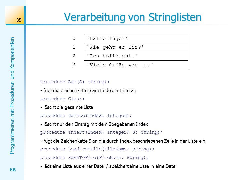 KB Programmieren mit Prozeduren und Komponenten 35 Verarbeitung von Stringlisten Hallo Inger Wie geht es Dir? 0 1 Ich hoffe gut. Viele Grüße von... 2 3 procedure Add(S: string); - fügt die Zeichenkette S am Ende der Liste an procedure Clear; - löscht die gesamte Liste procedure Delete(Index: Integer); - löscht nur den Eintrag mit dem übegebenen Index procedure Insert(Index: Integer; S: string); - fügt die Zeichenkette S an die durch Index beschriebenen Zeile in der Liste ein procedure LoadFromFile(FileName: string); procedure SaveToFile(FileName: string); - lädt eine Liste aus einer Datei / speichert eine Liste in eine Datei
