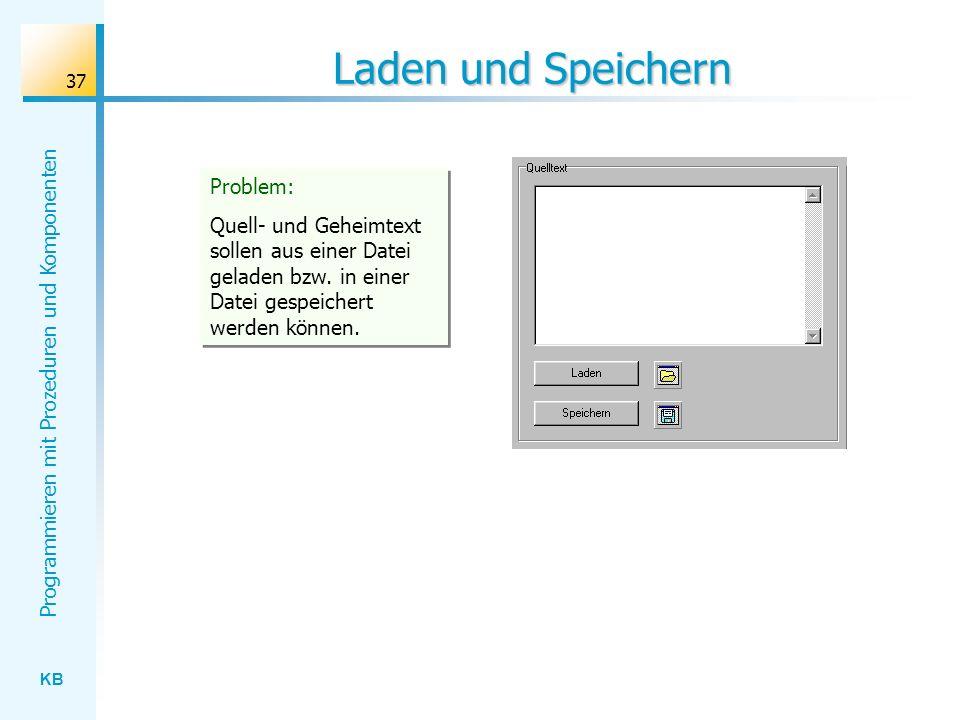 KB Programmieren mit Prozeduren und Komponenten 37 Laden und Speichern Problem: Quell- und Geheimtext sollen aus einer Datei geladen bzw.