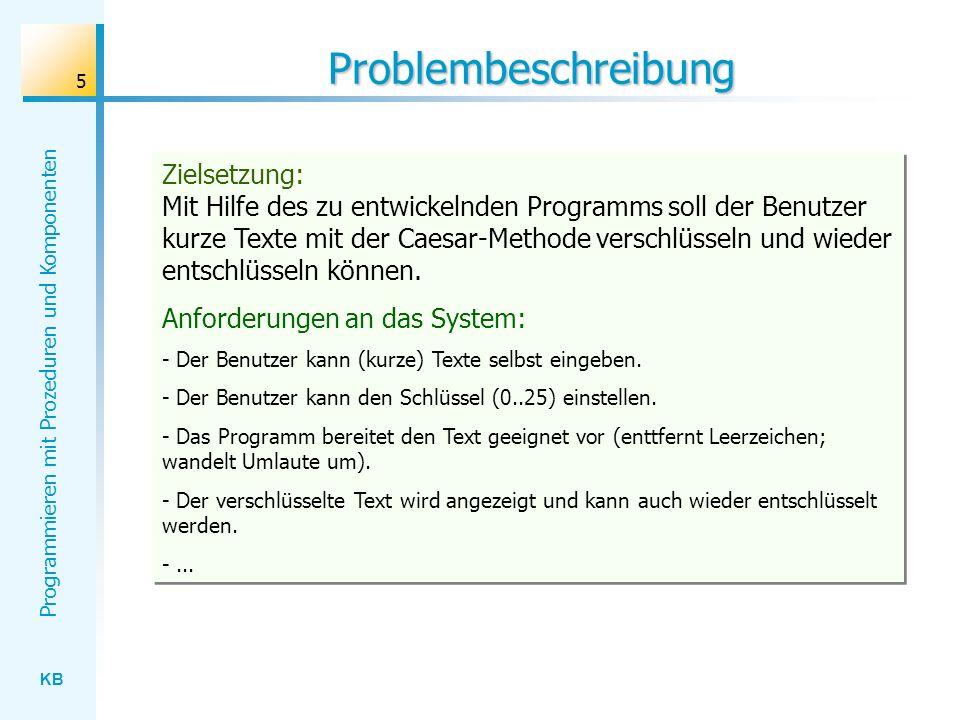 KB Programmieren mit Prozeduren und Komponenten 5 Problembeschreibung Zielsetzung: Mit Hilfe des zu entwickelnden Programms soll der Benutzer kurze Texte mit der Caesar-Methode verschlüsseln und wieder entschlüsseln können.
