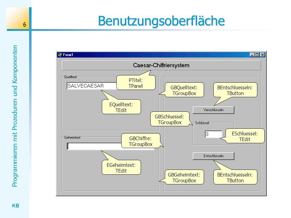 KB Programmieren mit Prozeduren und Komponenten 17 Parameterübergabemechanismen {Z: [ Baumschule ]} Delete [ ]:S [5]:Index [6]:Count 5 6 Referenzbildung Wertübergabe Delete(Z, 5, 6) {Z: [ Baum ]} Z: [ Baumschule ] Adresse Wert Delete [ ]:S [ ]:Index [ ]:Count 5 6 Z: [ Baum ]