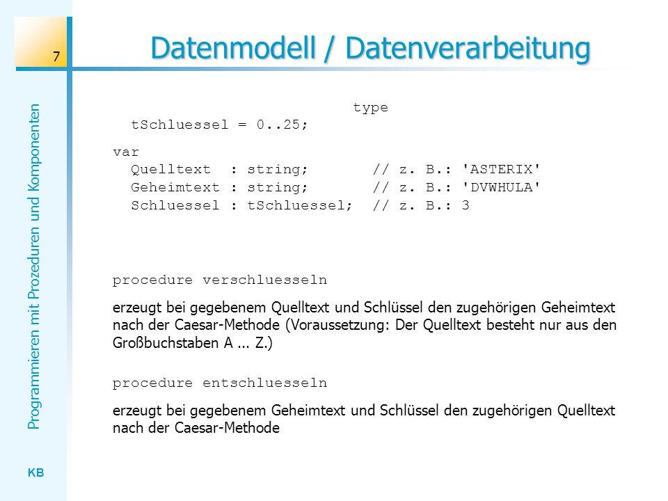 KB Programmieren mit Prozeduren und Komponenten 8 Exkurs: Zeichen Zeichen werden in Delphi / Pascal mit Hilfe des Datentyps char beschrieben.