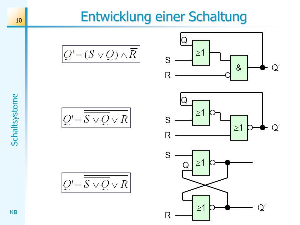 KB Schaltsysteme 10 Entwicklung einer Schaltung Q 1 S Q & R Q 1 S Q 1 R Q 1 S Q 1 R