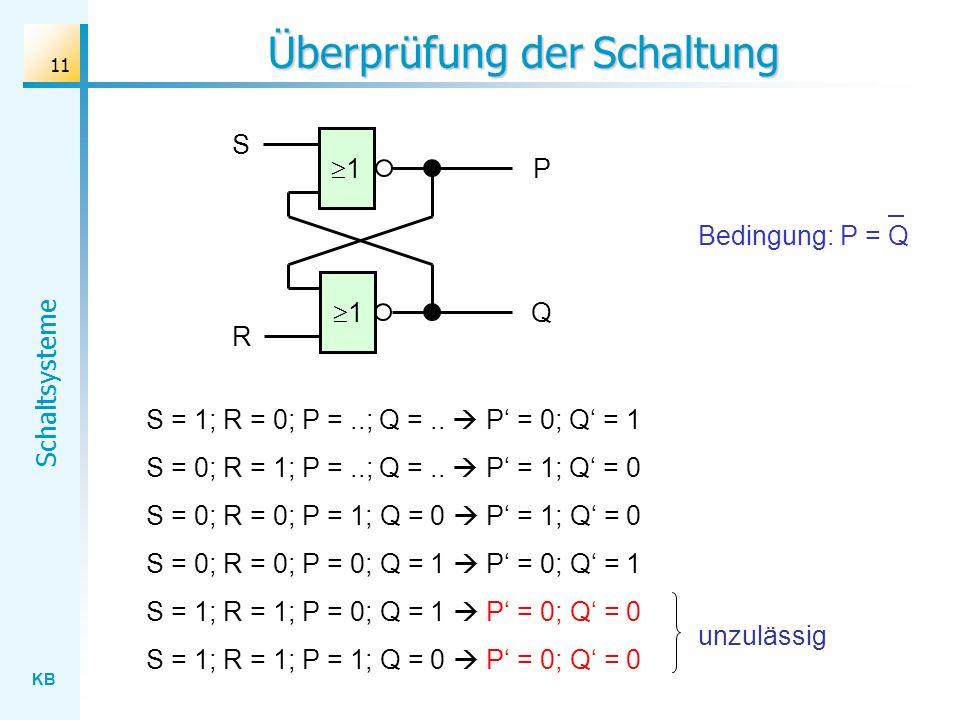 KB Schaltsysteme 11 Überprüfung der Schaltung 1 S Q 1 R P S = 1; R = 0; P =..; Q =.. P = 0; Q = 1 S = 0; R = 1; P =..; Q =.. P = 1; Q = 0 S = 0; R = 0