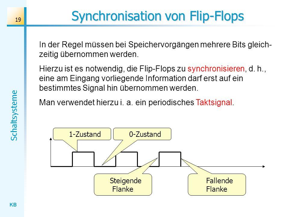 KB Schaltsysteme 19 Synchronisation von Flip-Flops In der Regel müssen bei Speichervorgängen mehrere Bits gleich- zeitig übernommen werden. Hierzu ist