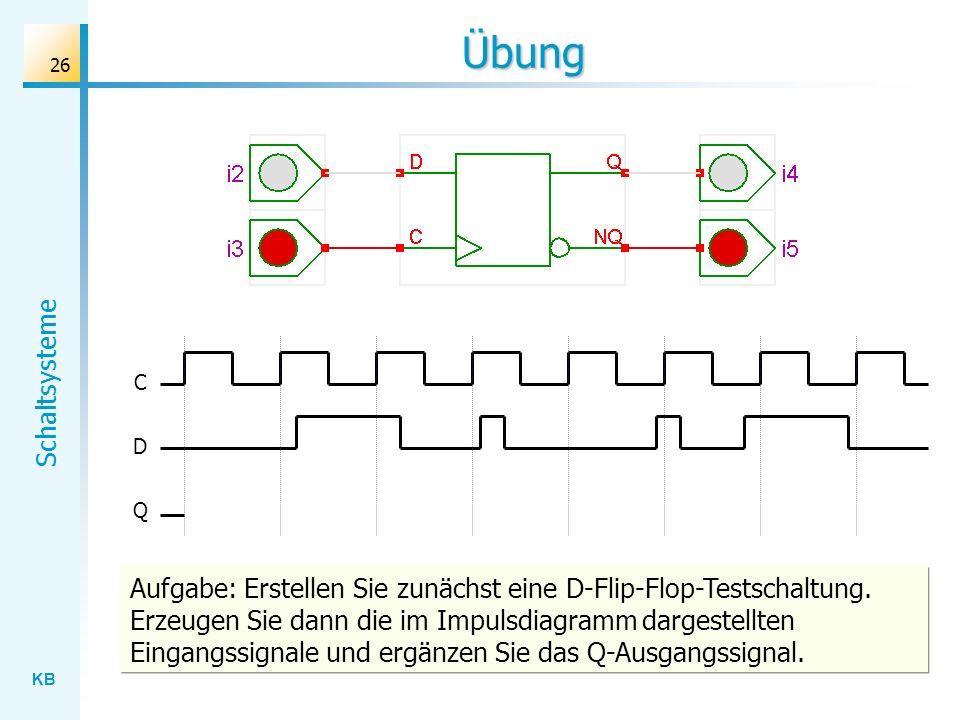 KB Schaltsysteme 26 Übung C D Q Aufgabe: Erstellen Sie zunächst eine D-Flip-Flop-Testschaltung. Erzeugen Sie dann die im Impulsdiagramm dargestellten