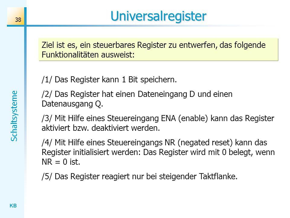 KB Schaltsysteme 38 Universalregister Ziel ist es, ein steuerbares Register zu entwerfen, das folgende Funktionalitäten ausweist: /1/ Das Register kan