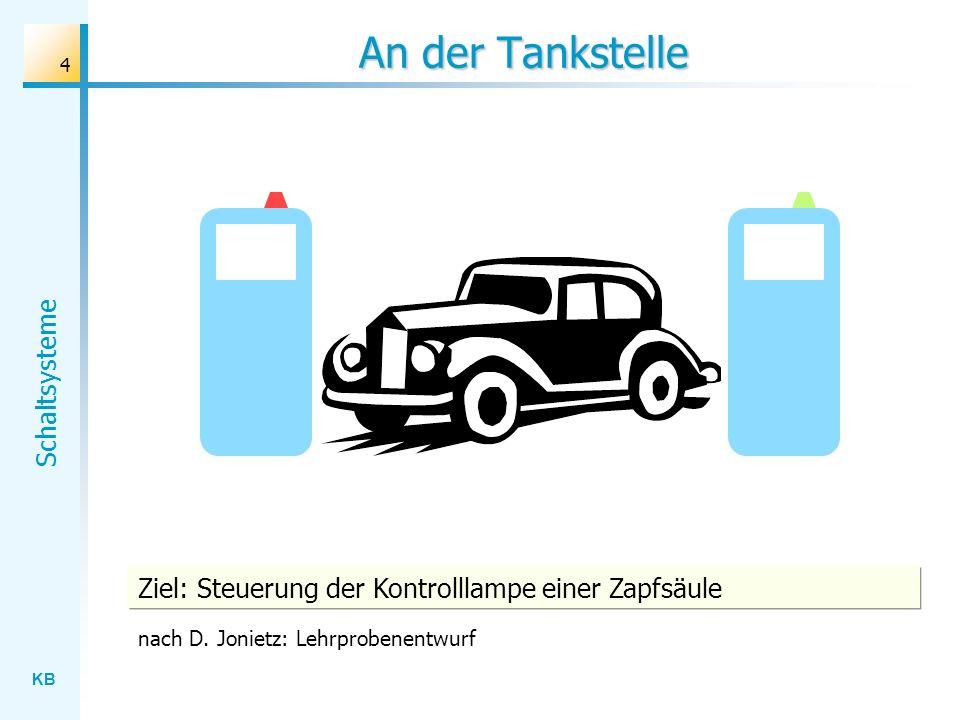 KB Schaltsysteme 4 An der Tankstelle Ziel: Steuerung der Kontrolllampe einer Zapfsäule nach D. Jonietz: Lehrprobenentwurf