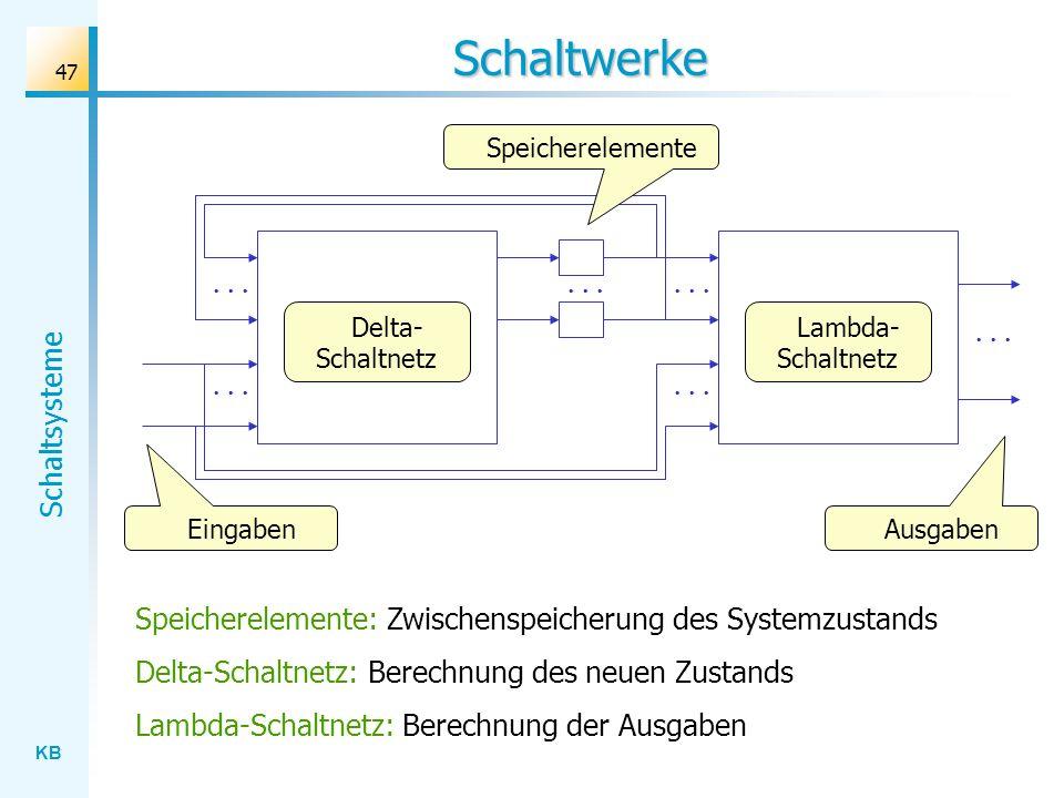 KB Schaltsysteme 47 Schaltwerke Eingaben Ausgaben Delta- Schaltnetz Speicherelemente: Zwischenspeicherung des Systemzustands Delta-Schaltnetz: Berechn