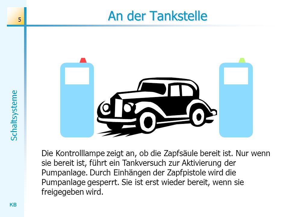 KB Schaltsysteme 5 An der Tankstelle Die Kontrolllampe zeigt an, ob die Zapfsäule bereit ist. Nur wenn sie bereit ist, führt ein Tankversuch zur Aktiv