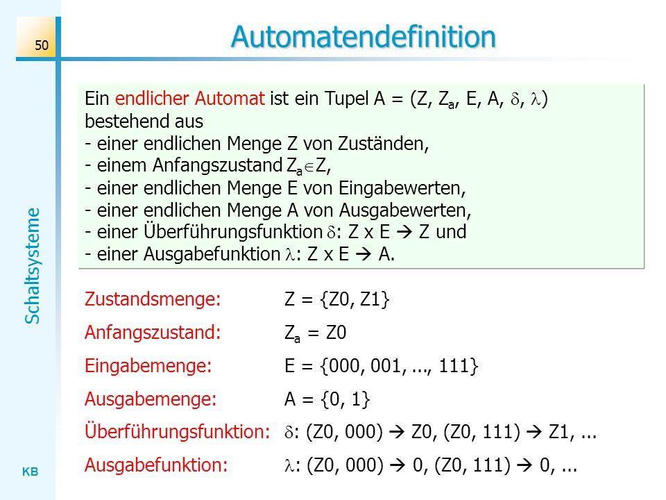KB Schaltsysteme 50 Automatendefinition Zustandsmenge: Z = {Z0, Z1} Anfangszustand:Z a = Z0 Eingabemenge: E = {000, 001,..., 111} Ausgabemenge: A = {0
