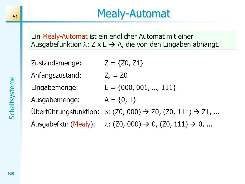 KB Schaltsysteme 51 Mealy-Automat Zustandsmenge: Z = {Z0, Z1} Anfangszustand:Z a = Z0 Eingabemenge: E = {000, 001,..., 111} Ausgabemenge: A = {0, 1} Ü
