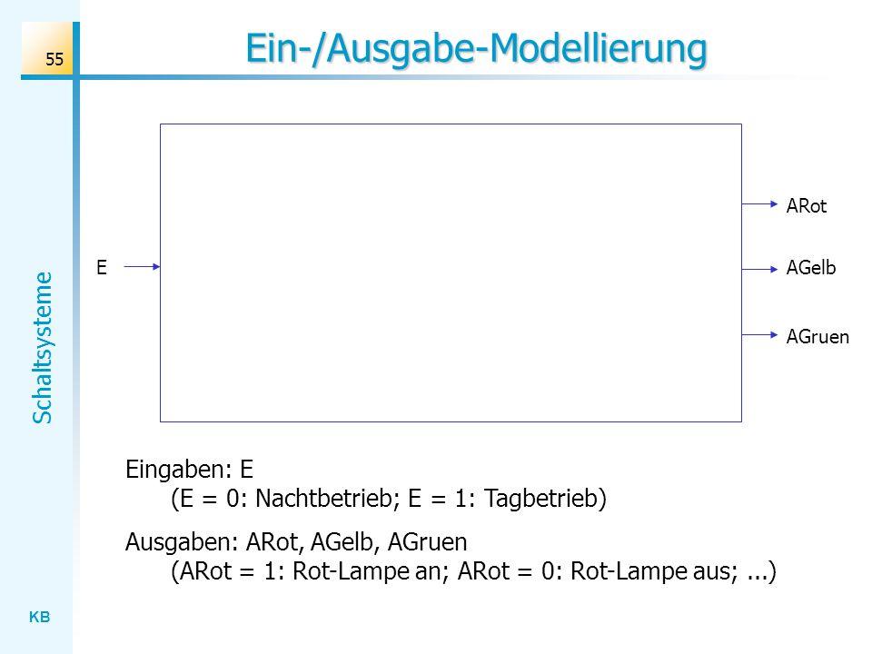 KB Schaltsysteme 55 Ein-/Ausgabe-Modellierung ARot E Eingaben: E (E = 0: Nachtbetrieb; E = 1: Tagbetrieb) Ausgaben: ARot, AGelb, AGruen (ARot = 1: Rot