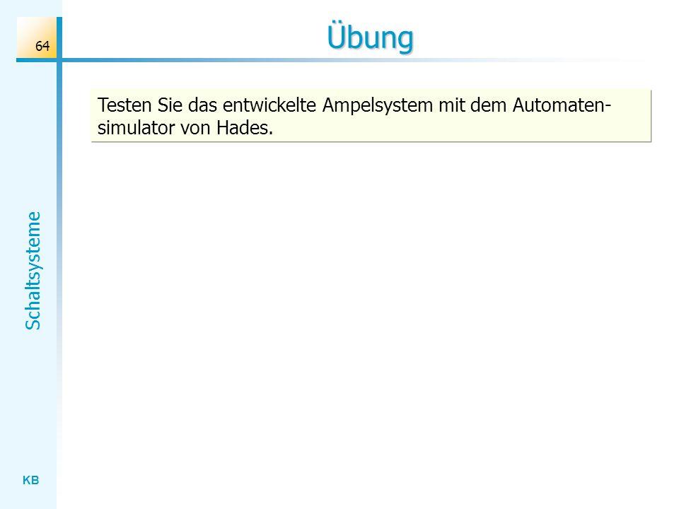 KB Schaltsysteme 64 Übung Testen Sie das entwickelte Ampelsystem mit dem Automaten- simulator von Hades.